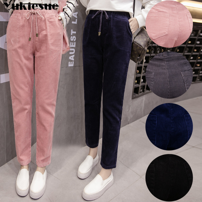 8e851a8de6ff1 Detail Feedback Questions about High Waisted Harem Pant Women Cotton Loose  Casual Pink Corduroy Pants For Women Pleated High Waist Corduroy Trousers  Plus ...