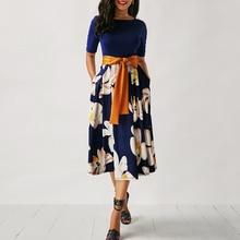 2018 Summer Vintage O-Neck Short Sleeve Blue Floral Print A-line Dress Elegant Mid-Calf Office Women Dresses