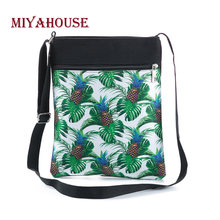 Miyahouse Casual Women Mini Flap Bag Shoulder Bag Pineapple Printed Small Canvas Crossbody Bag For Female(China)