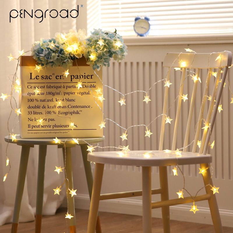 5M LED Stars String Lights Ball Outdoor Garland Battery Powered LED Fairy Lights Holidays New Year Party Xmas Light Chain PD042