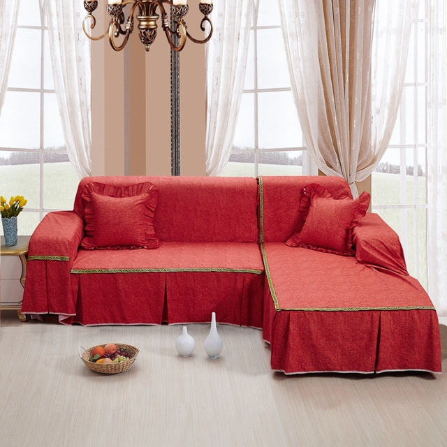 Sunnyrain Thick Cotton Canvas Solid Color Red Sofa Covers L Shaped Cover Slipcover Couch