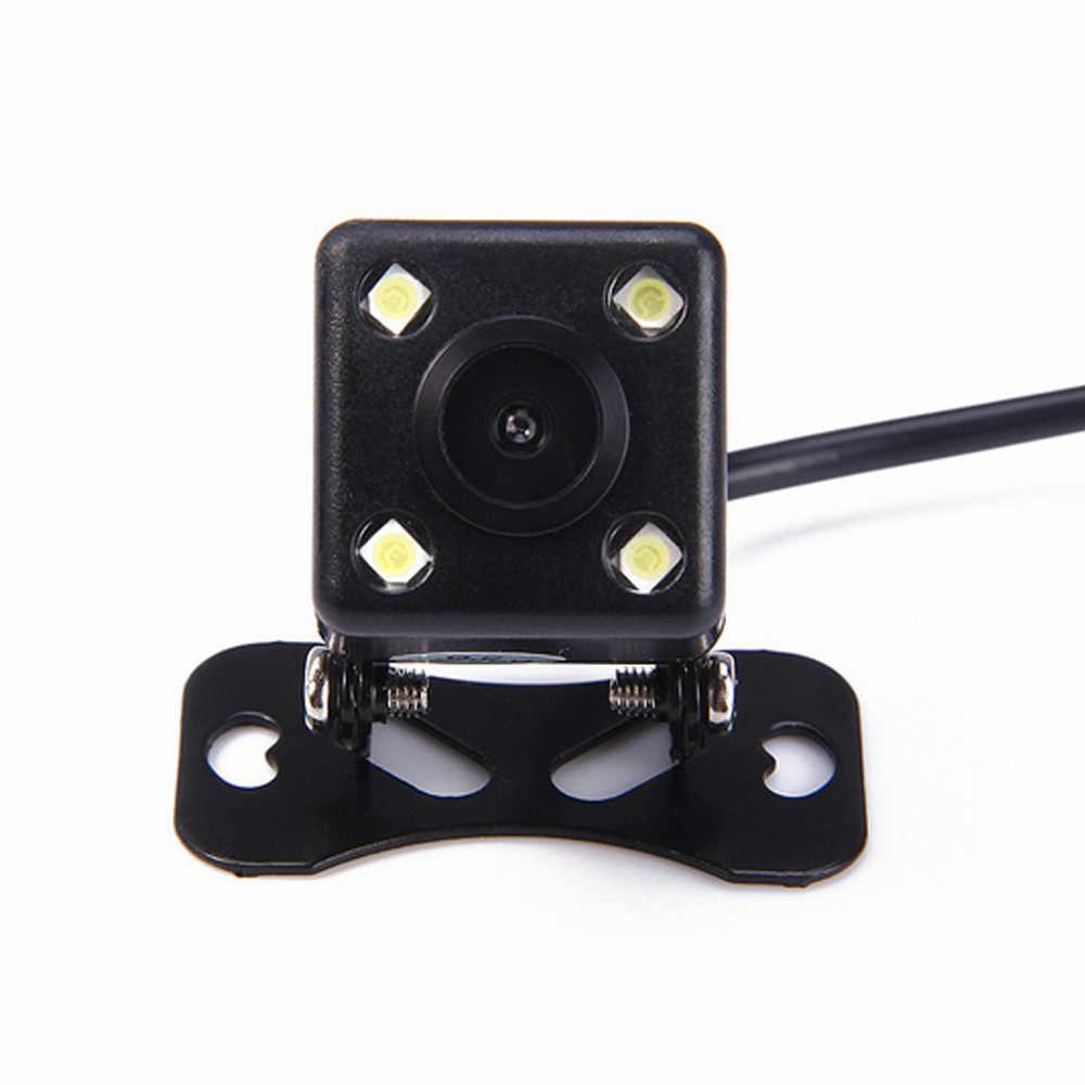 กล้องด้านหลังมุมกว้างกันน้ำ 4 LED Night Vision กล้องสำรองข้อมูลรถยนต์ที่จอดรถ 170 องศา universal auto กล้อง