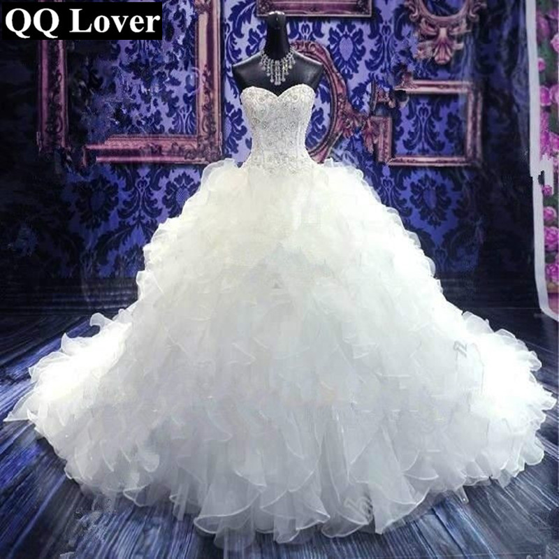 QQ Lover 2019 Elegant Beaded Ruffles Wedding Dress Chapel Train With Real Pictures