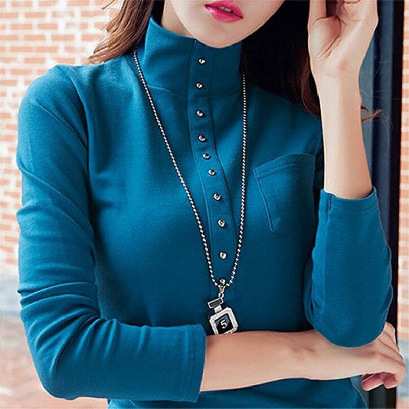 Plus Size T Shirt Women 2019 Spring Long Sleeve T-shirt Female Thick Tshirt Ladies Office Rivet Turtleneck Female Tee Tops 32588