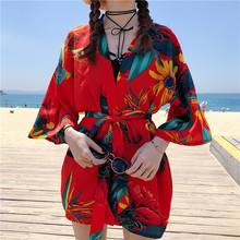 2019 New Harajuku Japanese Kimono Print Summer Cosplay Yukata  Sunscreen Fashion Thin Loose Blouse Women Tops