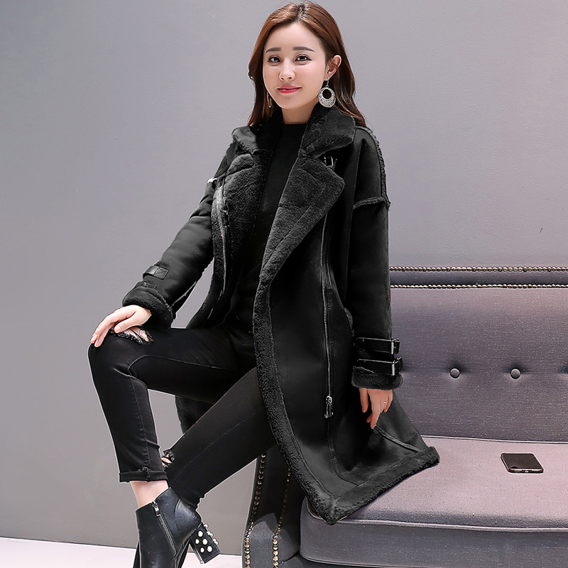2019 Zipper Thick Suede Jackets Female Autumn Winter Lambs Wool Long Motorcycle Coats Faux Leather Suede Coats Women