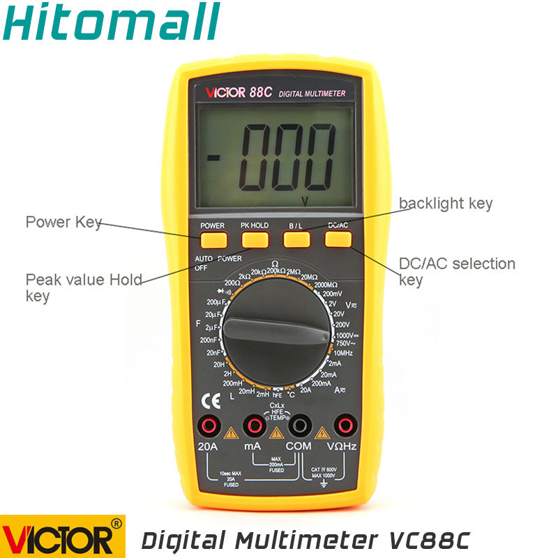 Professional Manual Range 2000 Counts 20A  1000V Resistance Capacitance Inductance Temperature Victor Digital Multimeter VC88C ammeter multitester 2000 counts resistance capacitance inductance temperature victor digital multimeter vc9805a