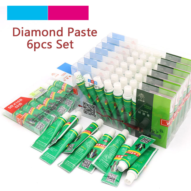 High Quality 6pcs Diamond Abrasive Paste Needle W0.5-W40 Grinding Polishing Tube Lapping Compound Metal Jade Amber Buffing Tools