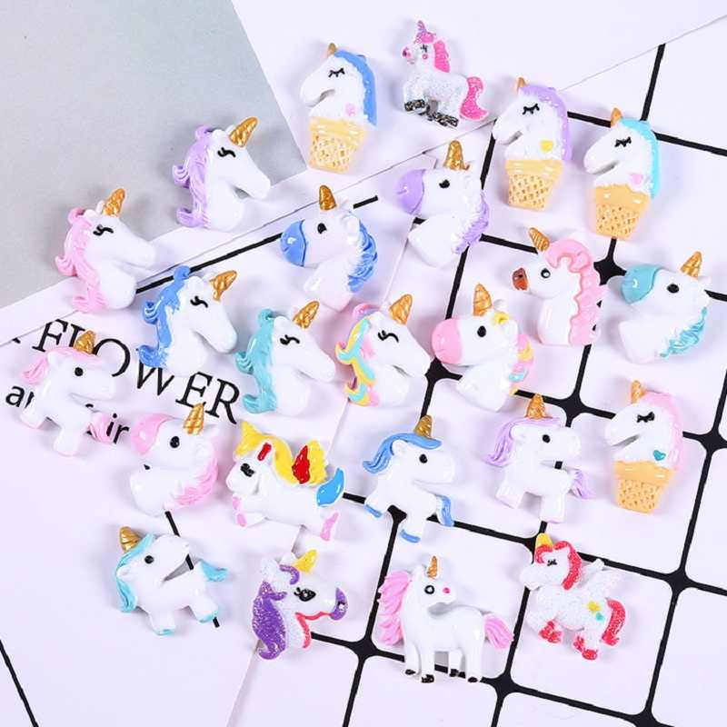 10PCS Unicorn Charms For SLIME Fillers Mobile Phone Shell Decoration Cute Slime Charms