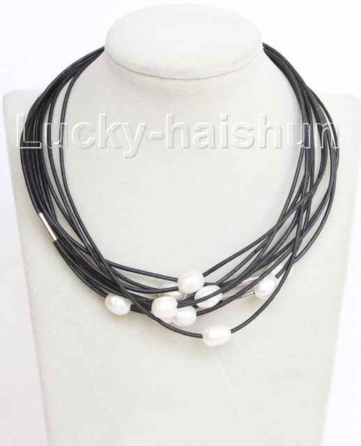 wholesale 10 piece 11mm white FW pearls Black leather necklace j10711