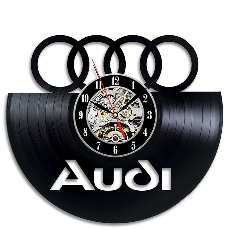 Black Hollow Audi Logo CD Record Wall Clock Audi Gift Art Decor LED Record Vintage Decoration Personalized Home Decor