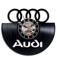 Black Hollow Audi Logo CD Record Wall Clock Audi Gift Art Decor LED Record Vintage Decoration Personalized Home Decor