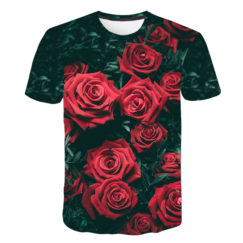 2019 New Spring Beautiful Flowers Print Casual T-shirt Men/Women Summer Tees Quick Dry 3D Print Tshirts Tops Fashion Tops