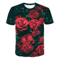 2019 nueva primavera hermosa flores estampado Casual camiseta hombres/mujeres verano Camisetas secado rápido 3D estampado camisetas moda tops