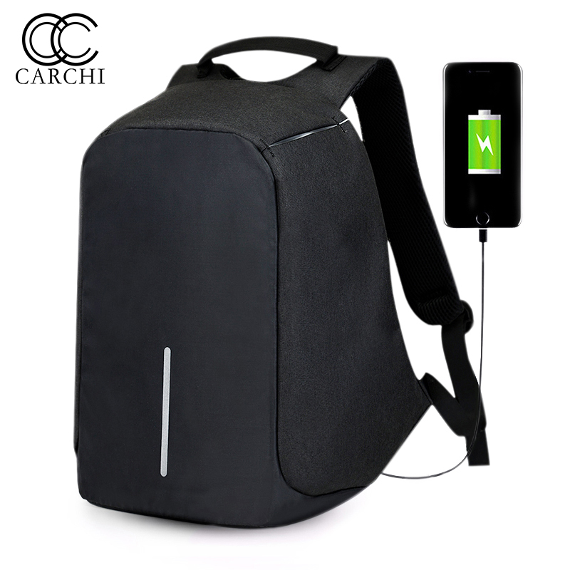 CARCHI Canvas Men s Anti Theft Backpack Bag USB Charge 15 Inch Laptop Notebook Backpack For