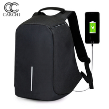 CARCHI Canvas Men s Anti Theft Backpack font b Bag b font USB Charge 15 Inch
