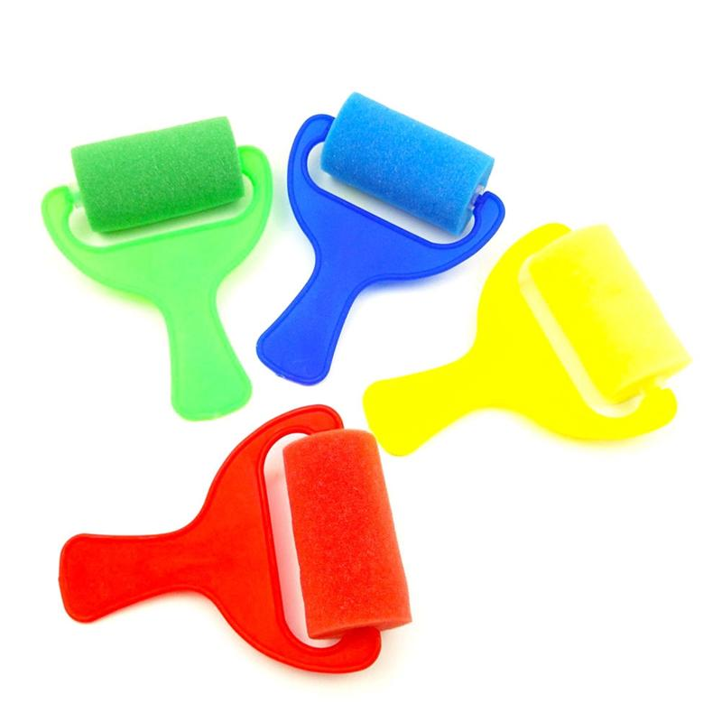 4 Pcs Paint Rollers DIY Sponge Drawing Painting Tools Brayers Rolls Rollers For Kids Artists Painters