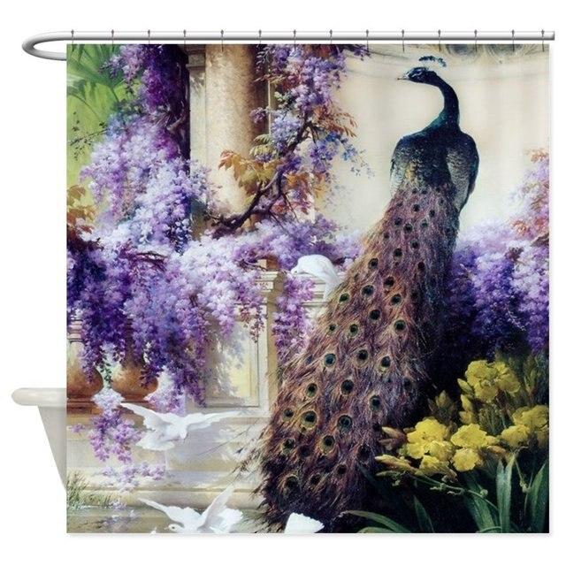 Bidau Peacock Wisteria Doves Shower Curtain Mat Decorative Waterproof Polyester Fabric Bathroom Set Home Bath Decor