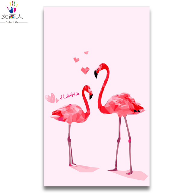 Pair Flamingo Animal Painting Draw Coloring Pictures By Numbers With