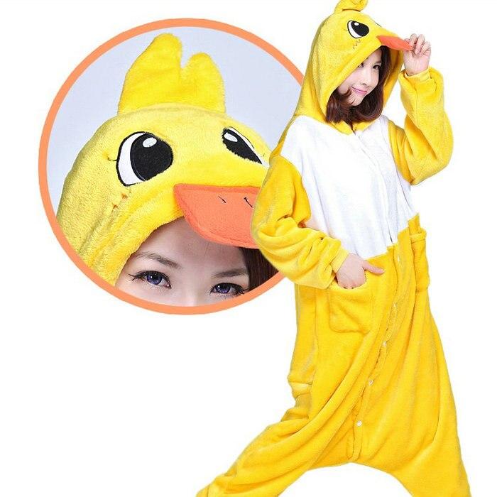 2016 Hot Vrouwen Mannen Geel Eend Cosplay Kostuums Cartoon Dier Jumpsuit Pyjama Duck Rompers Nachtkleding Adult Cosplay Pyjama Duurzame Modellering