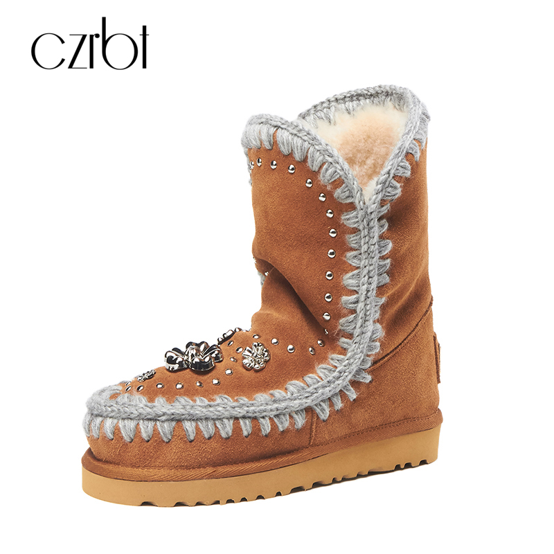 CZRBT Plus Size Australia Snow Boots Winter Women Boots Genuine Sheepskin Fur River Round Toe Brown Black Slip-On Snow Boots 2016 rhinestone sheepskin women snow boots with fur flat platform ankle winter boots ladies australia boots bottine femme botas