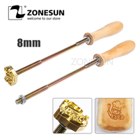 ZONESUN 30cm Brand Handle for Burning Mold Stamp on Cake Cookie Sweets,Iron Brass Mold Burning Handle,Custom Design(M8)