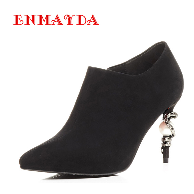 ФОТО ENMAYDA HIgh heels Sexy Rose Red Shoes Woman Spring and Autumn Zippers Pointed Toe Ankle Boots for Women Platform Fashoin Boots