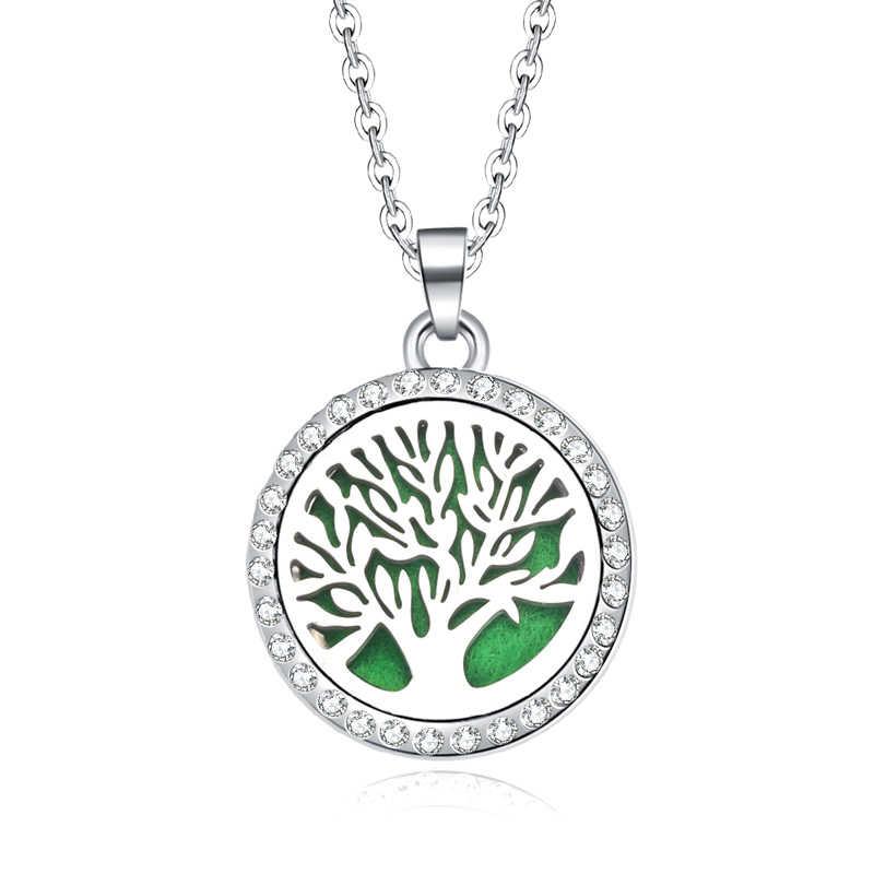 Nouveau collier d'aromathérapie arbre de vie ouvert médaillon huiles essentielles diffuseur d'arôme strass médaillon parfum pendentif collier