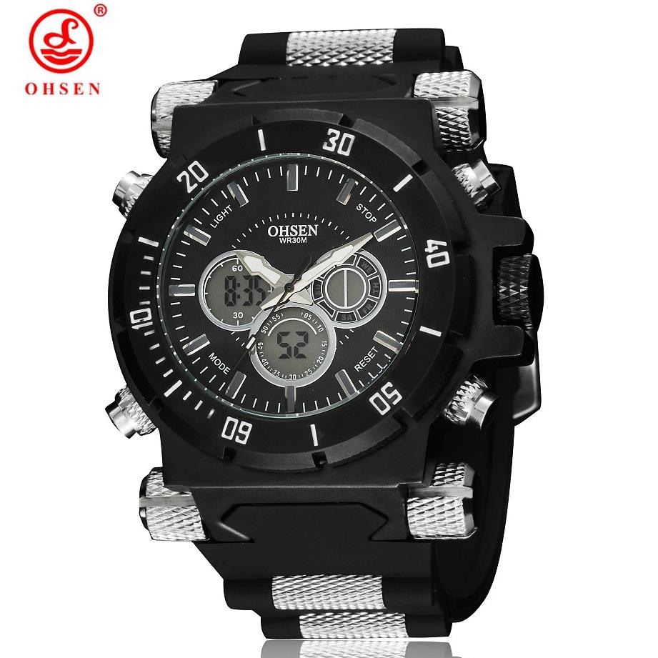 Prix pour Hommes de Montre Militaire 5ATM Étanche Dual Time LED Numérique Analogique 2016 Nouveau OHSEN Multi-Fonction Sport Montres Quartz montre-bracelet
