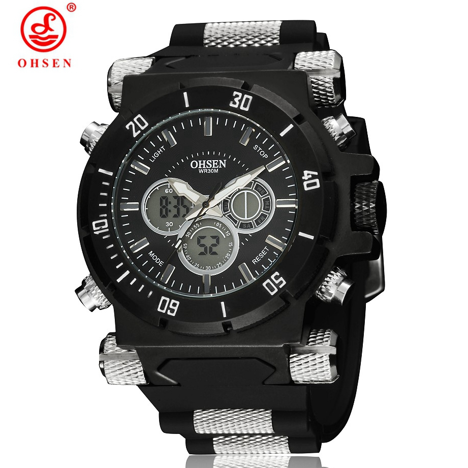 Men's Watch Military 5ATM Waterproof Dual Time LED Digital Analog 2016 New OHSEN Multi-Function Sports Watches Quartz Wristwatch weide men sports watches waterproof military quartz digital watch alarm stopwatch dual time zones wristwatch relogios masculinos