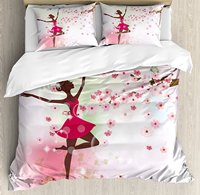 Room Duvet Cover Set Ballet Butterfly Fairy Ballerina Princess Dancer Flowers Tree Branch Floral Girls Party 4pcs Bedding Set