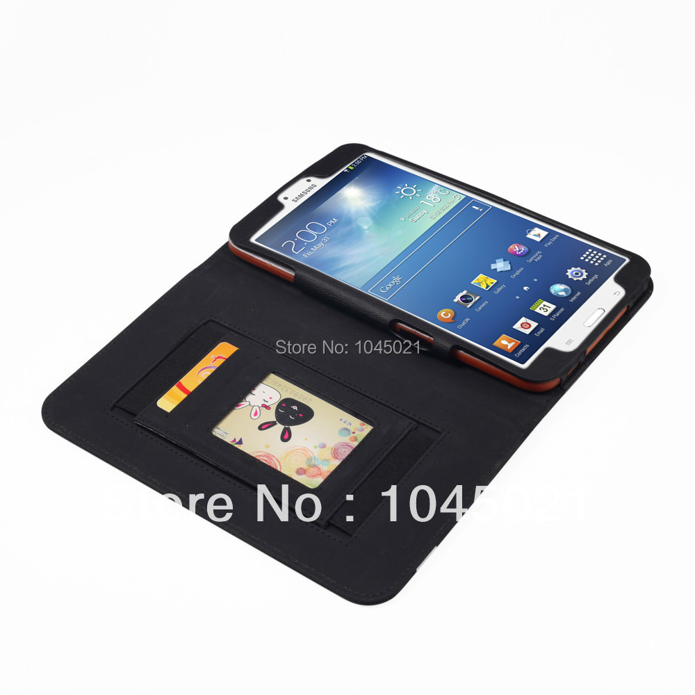 Wholesale 2016 new desing phone cases For Samsung Galaxy Tab 3  8 inch pu leather solid black Case With Stand free shipping