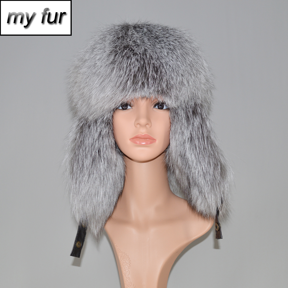 New Winter Real Fur Hat For Women men Raccoon Fox Fur Russian Ushanka Hats Unisex Thick