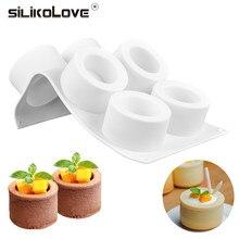 Moule à Pudding 3D en Silicone, 6 trous, pour gâteau artistique, Mousse, Dessert, Cupcake rond, bricolage, outils de cuisson faits maison
