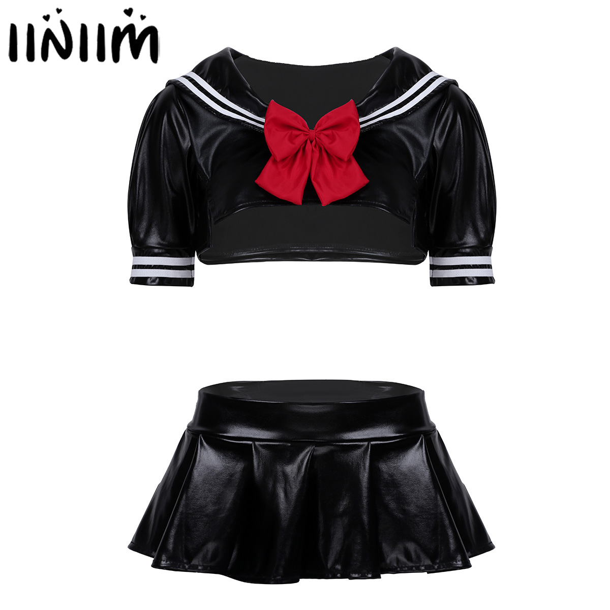 Womens Adults Wetlook Clubwear School Girls Cosplay Sexy Costume Dress Crop Top with Pleated Mini Skirt G-string and Bowtie