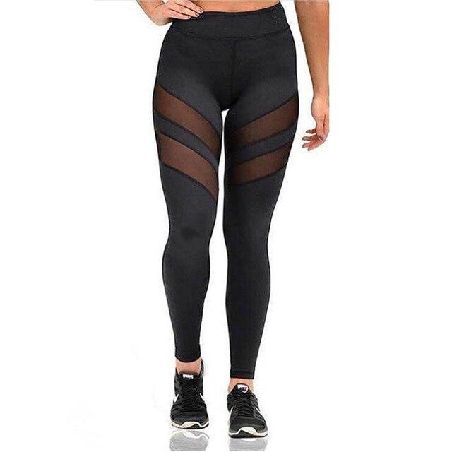 2017 Women High Waist Leggings Sexy Mesh Patchwork Leggings Fitness Black Leggings Skinny Push Up Elastic Mujer Plus Size Pants