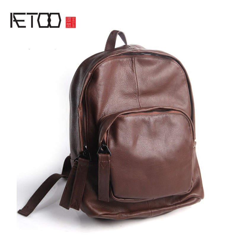 AETOO Pure leather Europe and the United States Japan and South Korea fashion retro leather bag leather simple and practical bac men hat europe and the united states fashion leather simple autumn and winter wild baseball cap out fashion hot sale