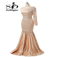 Abendkleider Crystal 2017 Actual Images One Shoulder Long Sleeve Mermaid Champagne Bead Rhinestone Prom Party Dress Evening Gown