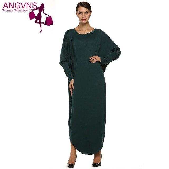 ACEVOG Свободной Женщины Dress Стиль Моды Супер Большой Макси Лонг Batwing Рукавом Повседневная Весна Осень Зима Dress Vestidos