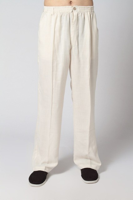 Hot Selling Beige Traditional Chinese Men's Kung Fu Trousers Casual Cotton Linen Pants with Pocket Size S M L XL XXL XXXL 2350-4