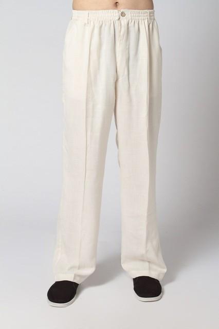Venda quente bege tradicionais homens chineses Kung Fu calças de algodão casuais calças de linho com tamanho de bolso sml XL XXL XXXL 2350 - 4