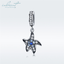 inbeaut Blue Starfish Charms 925 Sterling Silver White Cubic Zirconia fit Original diy Bracelet s925 Ocean Star Beads for Bangle