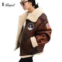 RUGOD Motorcycle Bomber Jacket Women Patchwork Warm Lamb Wool Lining Coat Fleece Suede Leather Jacket Women Jackets and Coats