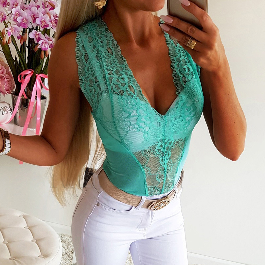 Women Bodysuits Lace Onesies Femme Sexy Clubwear Summer Beach Shapewear Sleeveless Thong Bodysuit Swimsuit Overalls Rompers