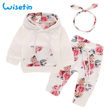 Floral Baby Girl Clothes Set Autumn Newborn Clothes Long Sleeve Flower Hoodies+Pants+Headband Toddler Infant Outfit Set D30