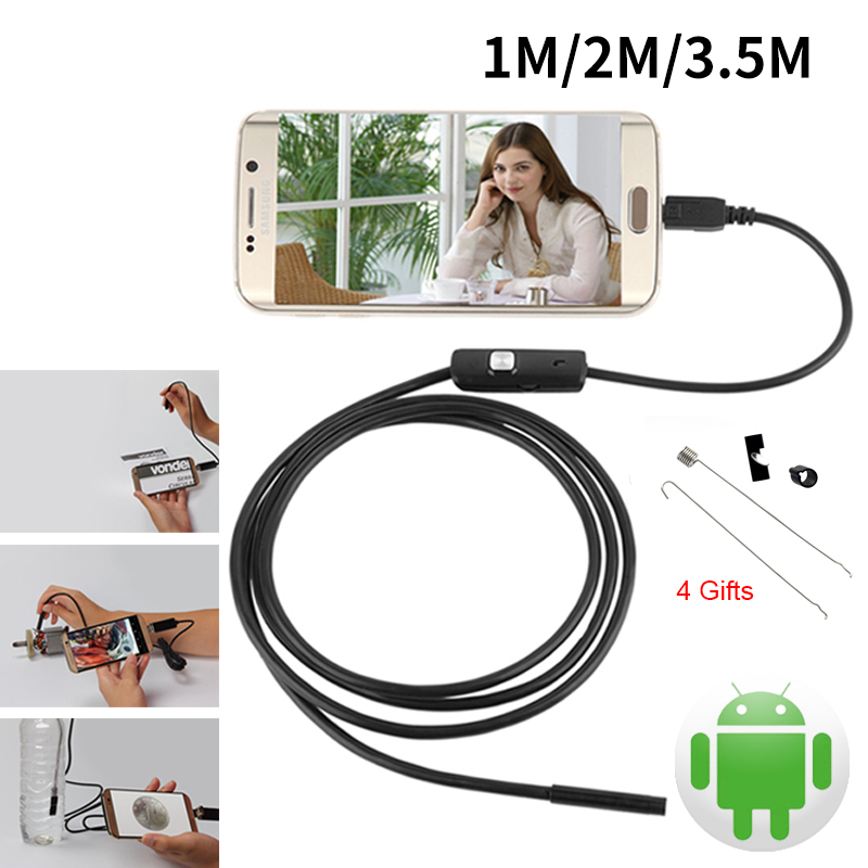 7mm 1M 2M Endoscope Endoskop Phone Camera Android USB Cable Pipe Waterproof Led Inspection Surveillance OTG Borescope Wistino mini camera endoscope 2in1 android usb camera 2m 5m 8mm hd tube pipe waterproof phone pc usb endoskop inspection borescope otg