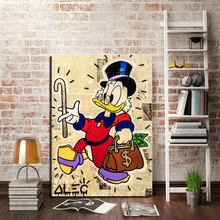 ALEC Monopolies Scrooge Carrying Money Handbag Cane Canvas Posters Prints Wall Art Painting Decorative Picture Home Decoration