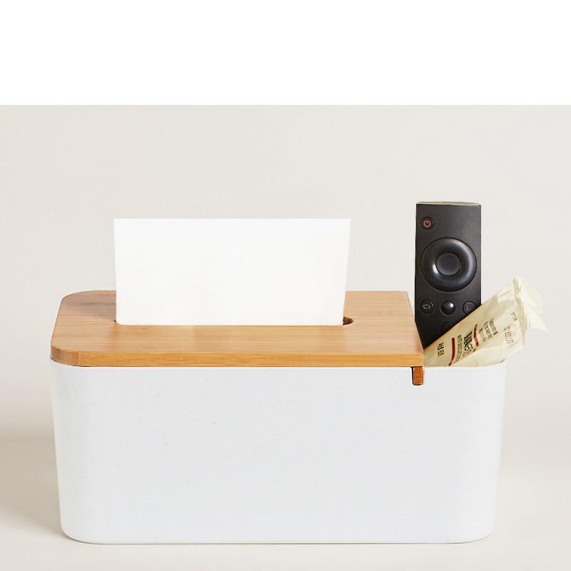 Original Xiaomi Bamboo Fiber Tissue Box Stationery Makeup Container Desktop Storage Box