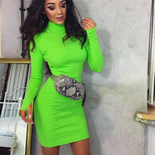 NiceMix 2019 winter spring dress women regular long sleeve fluorescent sheath sport natural fashion slim dresses
