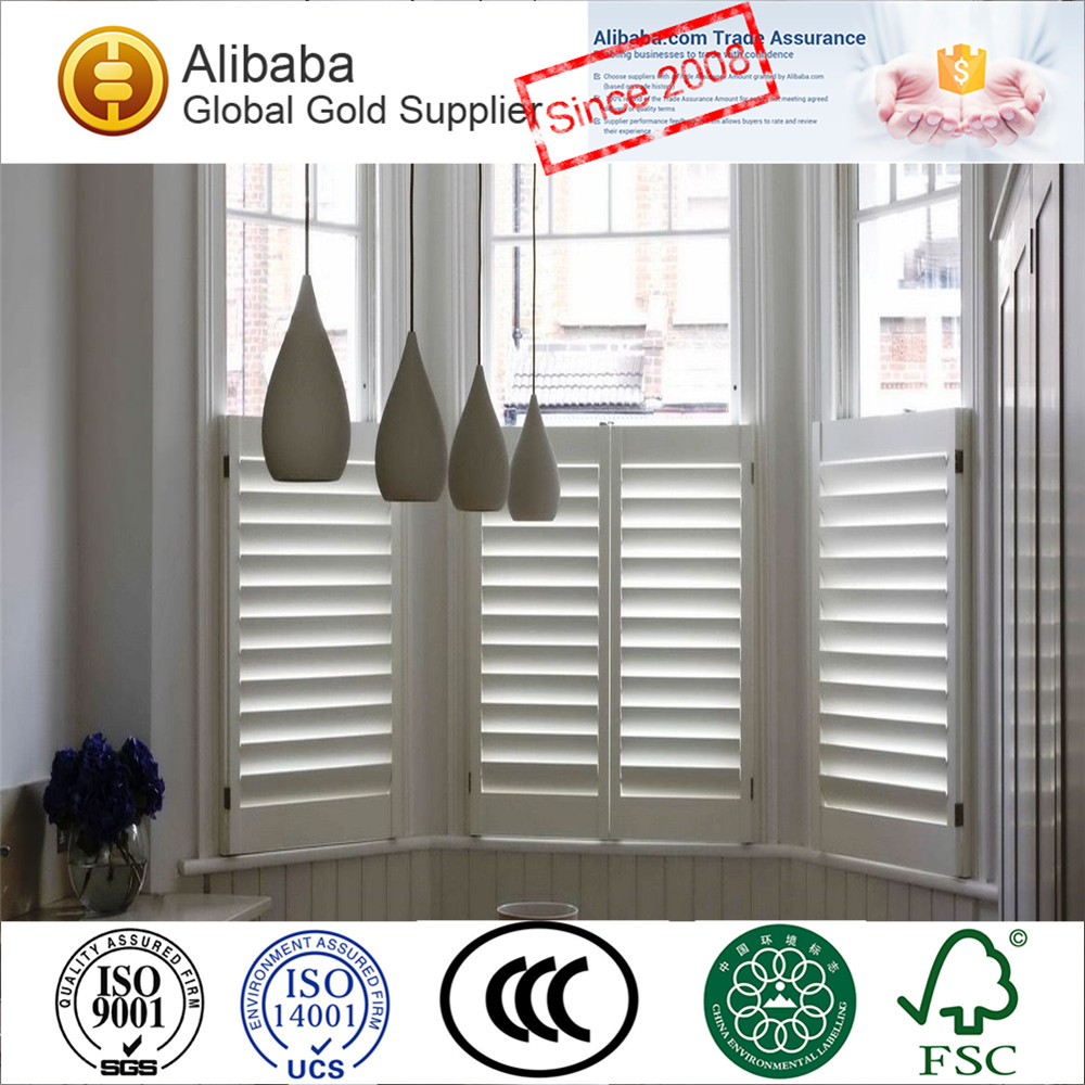 White Pvc Or Faux Wood Plantation Window Shutters And Blinds With Top  Quality
